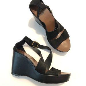 J. Crew Italy black wedge sandals Sz 7